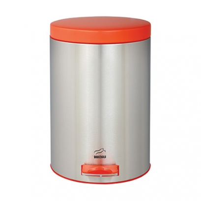 Steel-Orange Pedal Bin - 14 Liters (Metal door)