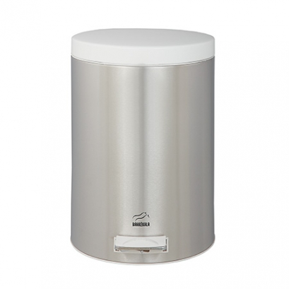 Steel-White Pedal Bin - 6 Liters (Metal door)