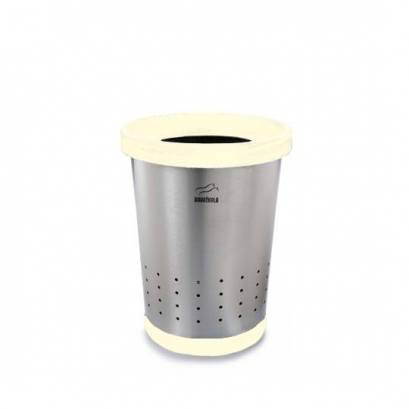 Steel-White Conical Waste Paper Bin with holes