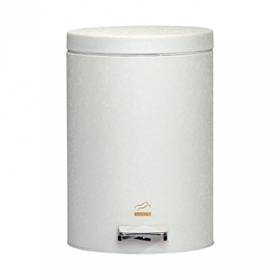 Wrinkle White Pedal Bin - 6 Liters (Metal door)