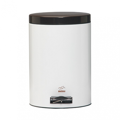 سطل پدالدار  6 لیتری سفید براق در قهوه ای