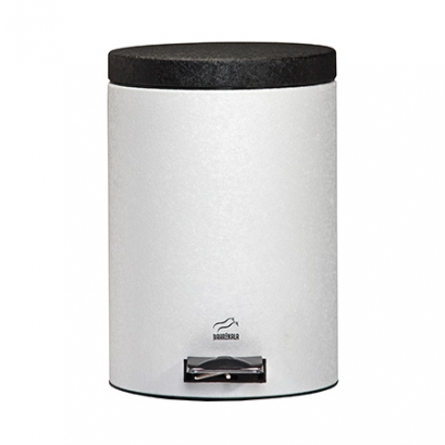 Wrinkle White-Black Pedal Bin - 14 Liters (Metal door)