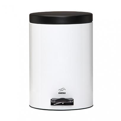 سطل پدالدار  6 لیتری سفید براق در مشکی