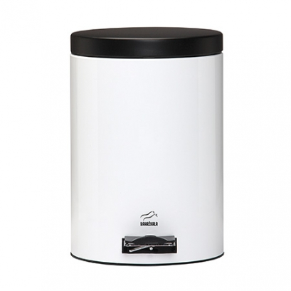 White-Black Pedal Bin - 14 Liters (Metal door)