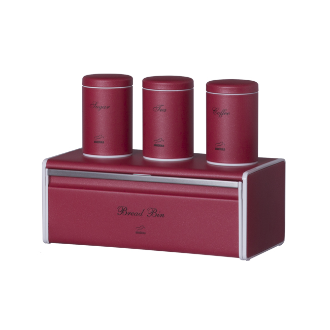 Red Bread Bin And Canister Set   Metal Lid