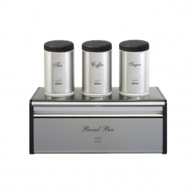 Steel-black Bread Bin and Canister Set - Metal Lid